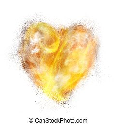 heart made of powder explosion, fire and smoke