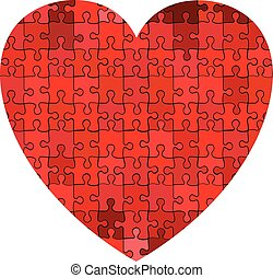 Heart made of puzzle background