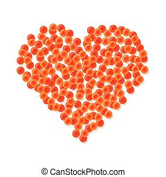 Heart made of red caviar.