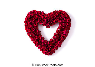 Heart made of red roses isolated on white background for Valentine's Day.