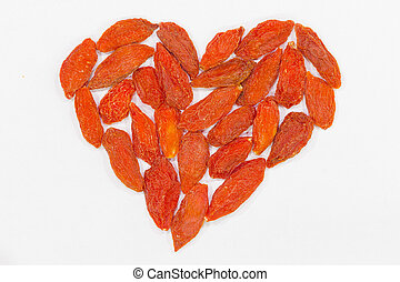 heart made of red wolf berries