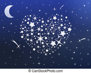 Heart made of stars in the night sky