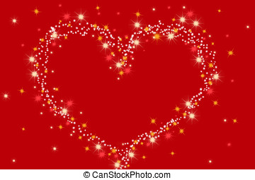 heart made of stars on red background - saint Valentine´s...