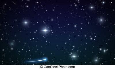 Heart made of twinkling Stars in the Beautiful night sky. HD...