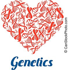 Heart made up of DNA helix for science design