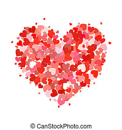 Heart made up of little pink and red hearts on white - Heart...