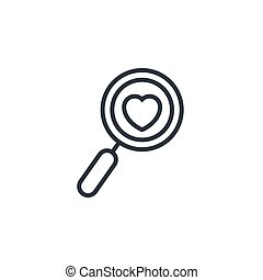 heart magnifying glass icon line design