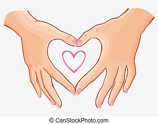 heart making woman's hands,vector illustration isolated on...