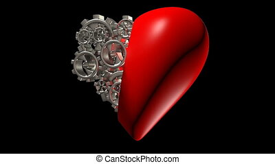 heart manifests of particles on a black background,