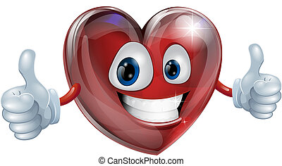 A happy heart mascot smiling and giving a thumbs up