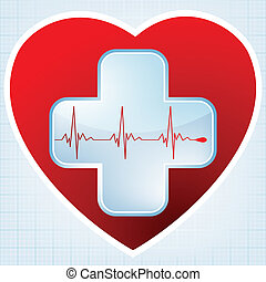 Heart medical cross. EPS 8 vector file included