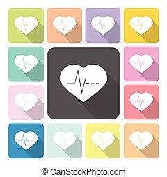 Heart medical Icon color set vector illustration.