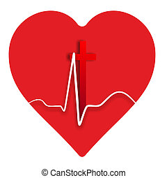 heart medical - heart symbol with heartbeat and a cross