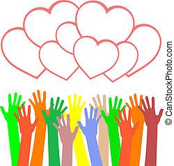 heart., mehrfarbig, grüße, halten hände, karte