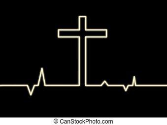 heart monitor, con, cruz