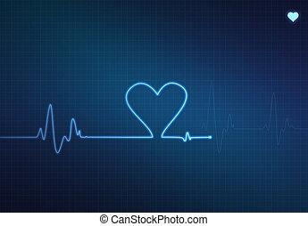 Heart Monitor - Heart-shaped blip on a medical heart monitor...