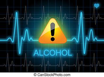 heart monitor, -, escrito, tasa, alcohol