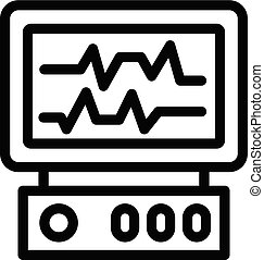 Heart monitor icon, outline style