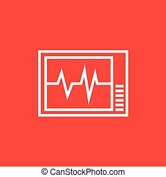 Heart monitor line icon.