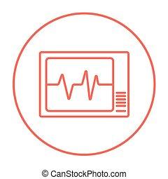 Heart monitor line icon.