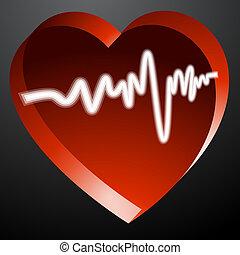 Heart Monitor Pulse - An image of a 3d heart monitor pulse.
