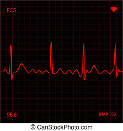 Heart Monitor - Red heart monitor screen