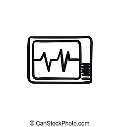 Heart monitor sketch icon.