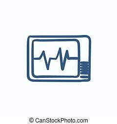 Heart monitor sketch icon.