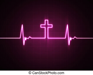A heart rate monitor with a Christian cross symbol.