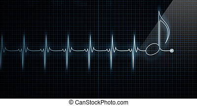 Heart Monitor with Music Note - Horizontal Pulse Trace Heart...