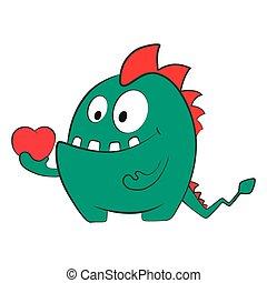 heart., monster, vrijstaand, valentijn, liefde, draak, spotprent, illustration.