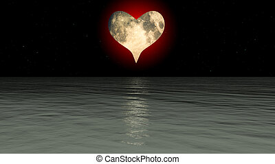 Heart Moon Over The Sea