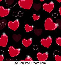 heart., motívum, valentines, seamless, ábra, vektor, háttér, nap, boldog