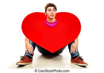 heart., nagy, felett, fiatal, elszigetelt, háttér., feltevő, érzelmi, white piros, ember