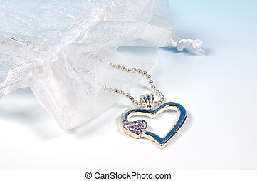 Heart Necklace - Heart Shaped Necklace and a Bag