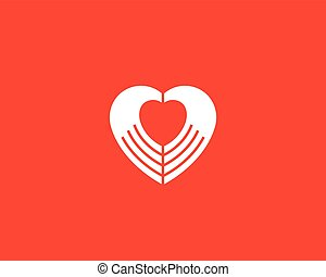 Heart negative space hands vector logotype. Charity medical...