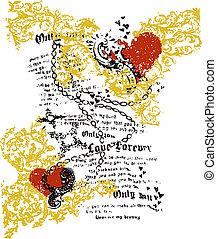 heart newspaper art design