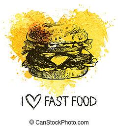 heart., nourriture, éclaboussure, main, jeûne, fond, menu, ...