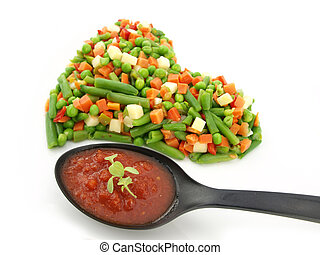 Heart of a frozen mixed vegetables