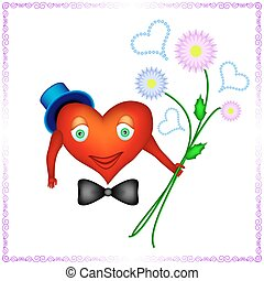 heart of a man is holding bouquet o