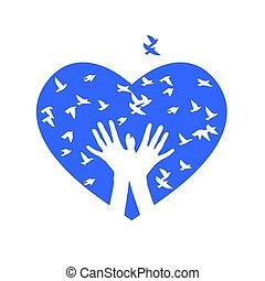 Heart of birds. Vector