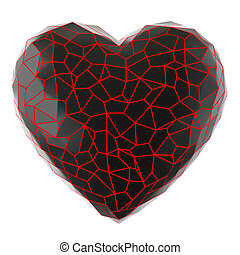 Heart of black fragments with red veins on a white background. 3D rendering
