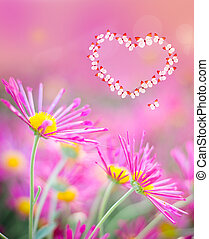 heart of butterflies on a pink background with chrysanthemums