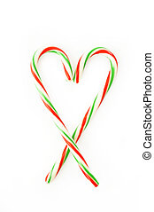 heart of candy canes isolated on white background
