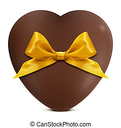 heart of chocolate with golden bow isolated on white background