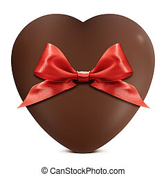 heart of chocolate with red bow isolated on white background