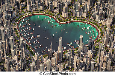 Heart of city - The lake is the heart of the city. Pond in...
