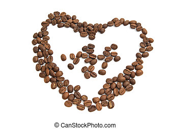 Heart of coffee beans on white