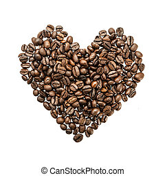 Heart of coffee beans on white background.