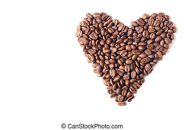 Heart of coffee beans. White background